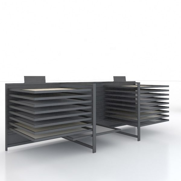 Tile Showroom Display Furniture, 2 Columns Of Inclined Display Racks