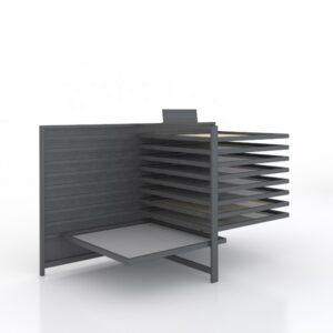 Chinese Ceramic Tile Display Rack Horizontal Sliding Black Metal Display Rack