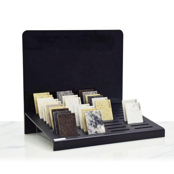 New Design Black Countertop Quartz Stone Tile Sample Display Rack