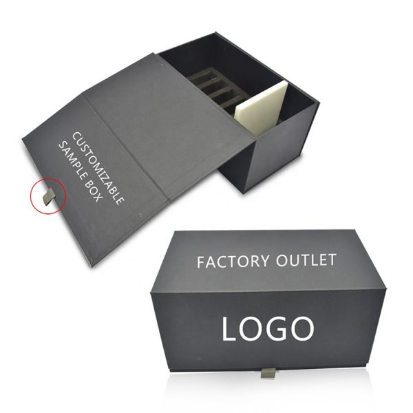 Black Exquisite Quartz Stone Sample Display Box