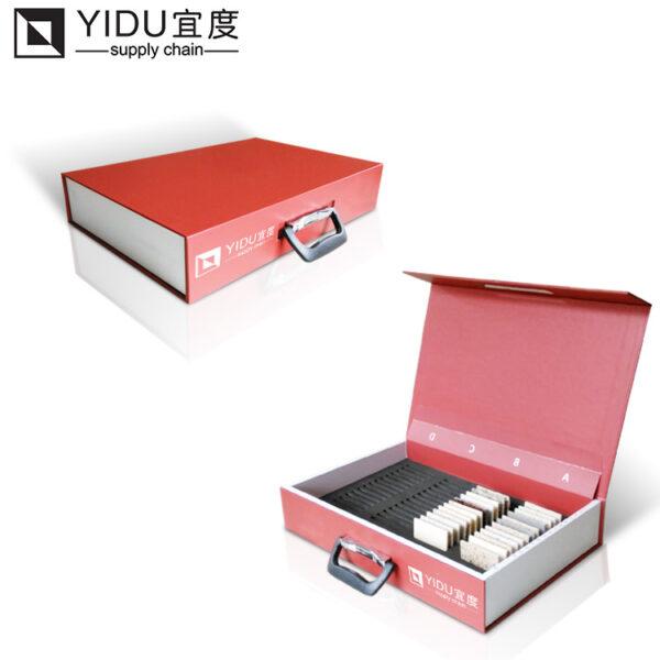 Red Stone Sample Portable Display Box, Quartz Stone Sample Suitcase