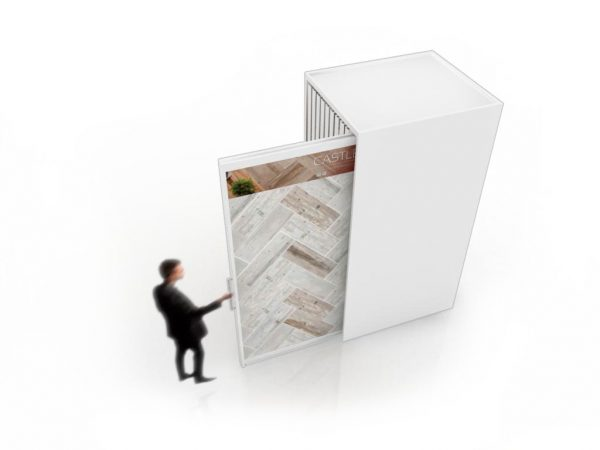Customizable Sliding Ceramic Floor And Brick Wall Tile Display Stand With Double-sided Panels