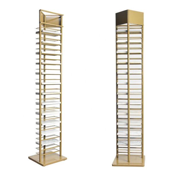 Ceramic Tile Metal Display Racks Golden Tower Marble Quartz Stone Display Stand