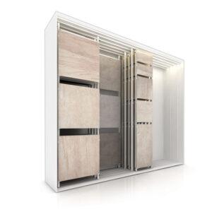 Tile Sliding Display Rack With 10 Display Panels