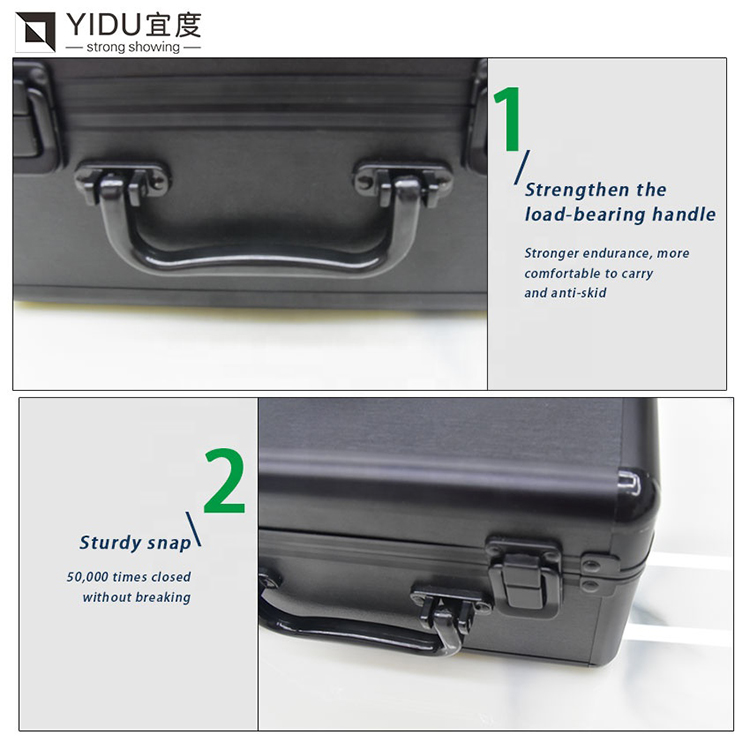 Portable Black Slate Tile Quartz Stone Sample Suitcase