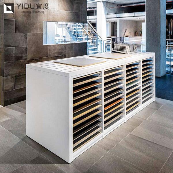 Ceramic Tile Marble Drawer Sliding Display Cabinet Rack Manufacturer