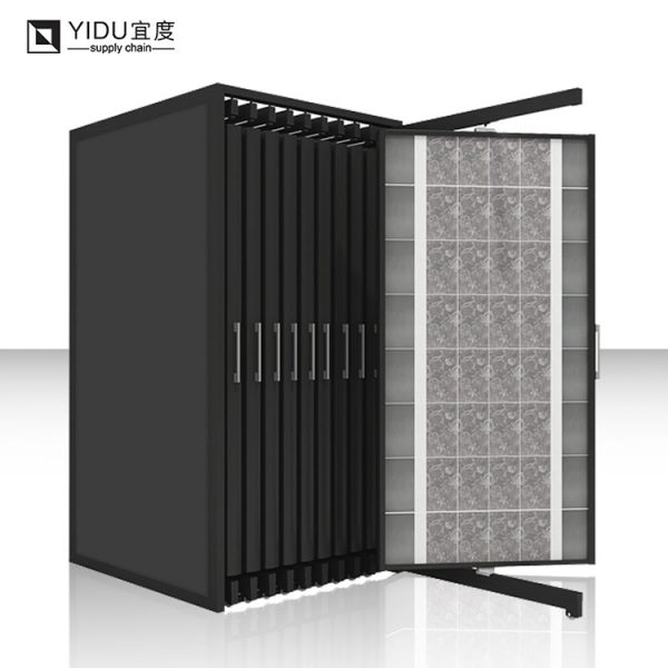 Black Mild Steel Book-type Push-pull Ceramic Tile Display Stand For Promotion