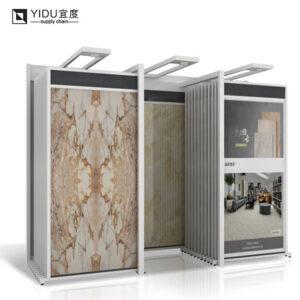 Showroom Ceramic Tile Metal Hanging Sliding Display Rack, 3 Columns