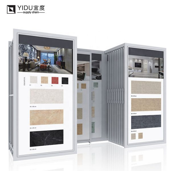 Double Row Hanging Ceramic Tile Display Cabinets Rack For Sale