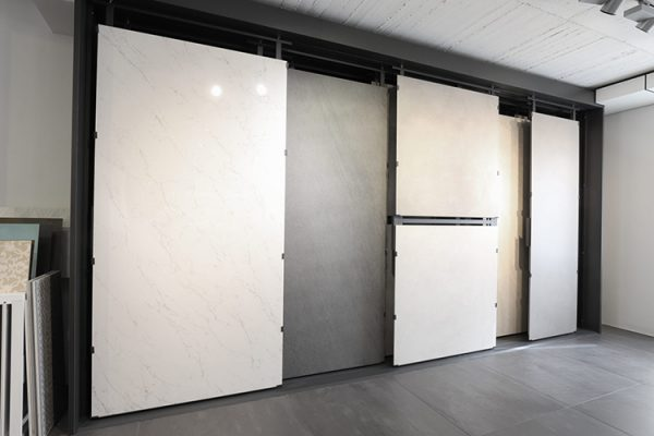 Large Tile Modular Display System, Tile Panel Sliding Display Rack