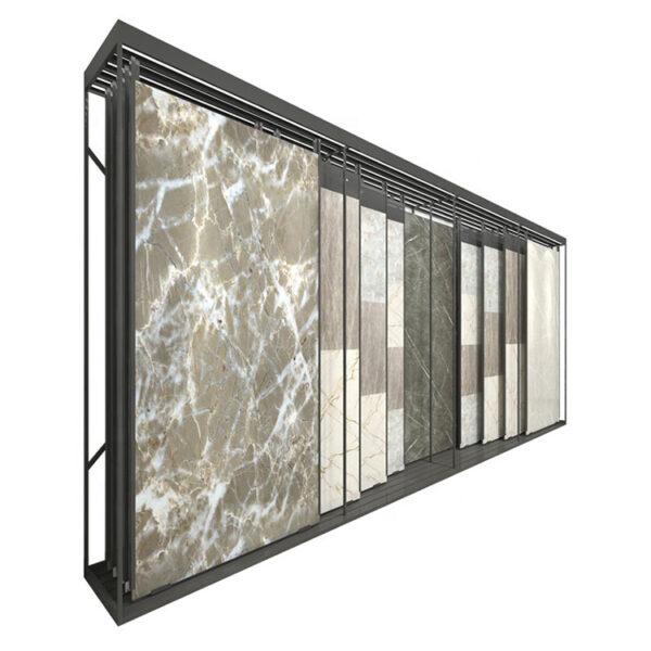 Large Ceramic Tile Sliding Display Rack, New Design Quartz Stone Marble Tile Sliding Display Rack