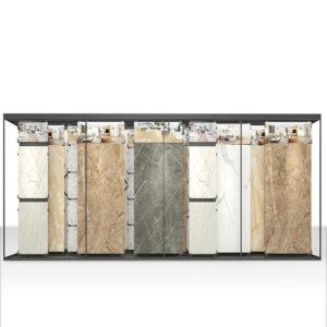 Customized Large Sliding Ceramic Tile Metal Display Rack For Exhibition Hall Display