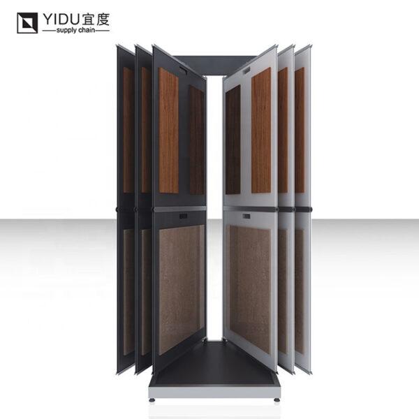 Custom Tile Wood Floor Flip Display Rack With Logo Metal Shelf