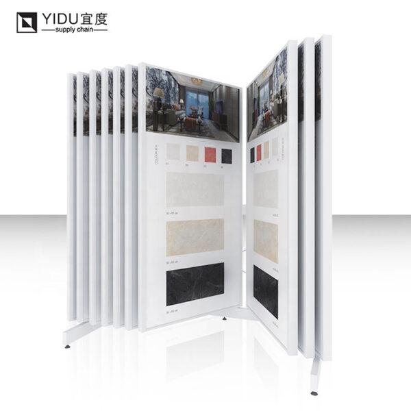 Book Type Ceramic Tile Wood Floor Flip Metal Display Stand With Micro Label