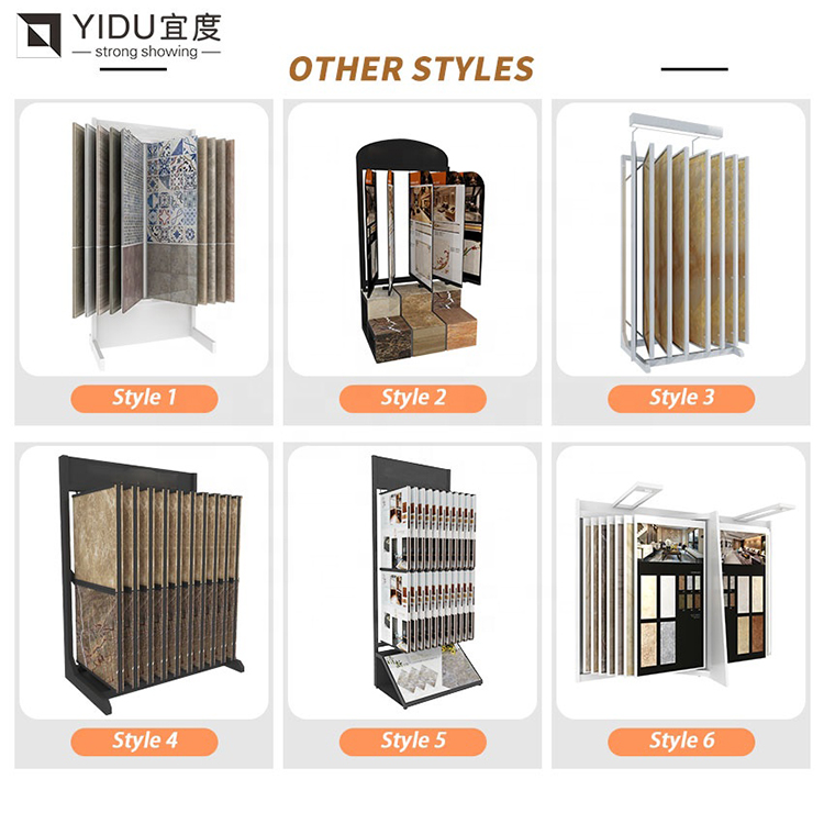 Mosaic Tile Wood Floor Metal Flip Display Stand For Showroom