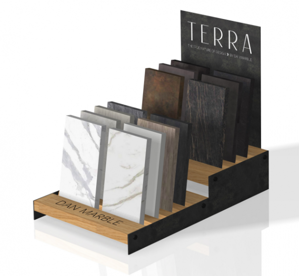 Simple Ceramic Tile Display Stand With Multiple Slots Laminated Wooden Display Stand
