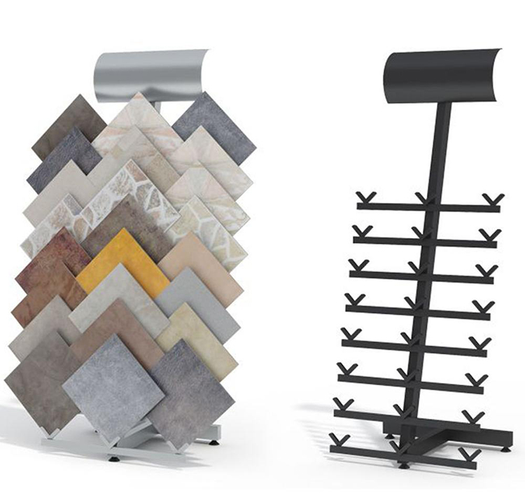 Fishbone Shape Ceramic Tile Marble Metal Floor Display Rack