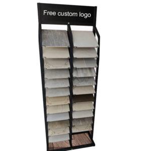 12/24/36 Layer Quartz Slate Display Rack, Marble Wood Floor Metal Display Rack Wholesale