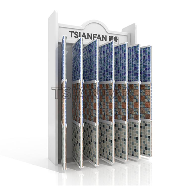 Mosaic Page Flip Display Rack Displayed In The Showroom MF011