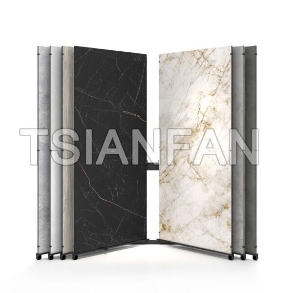 Sintered Stone Display Rack Ceramic Tile Large Slab Page Turning Sliding Display Stand